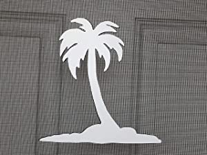 "DCentral Island Palm Flexible Screen Magnet Decor; Multipurpose, Double-Sided, for Non-Retractable Screens. Helps to Stop Walking into Screens, Covers Small tears in Screens, Size 6.6"" X 6.6"""