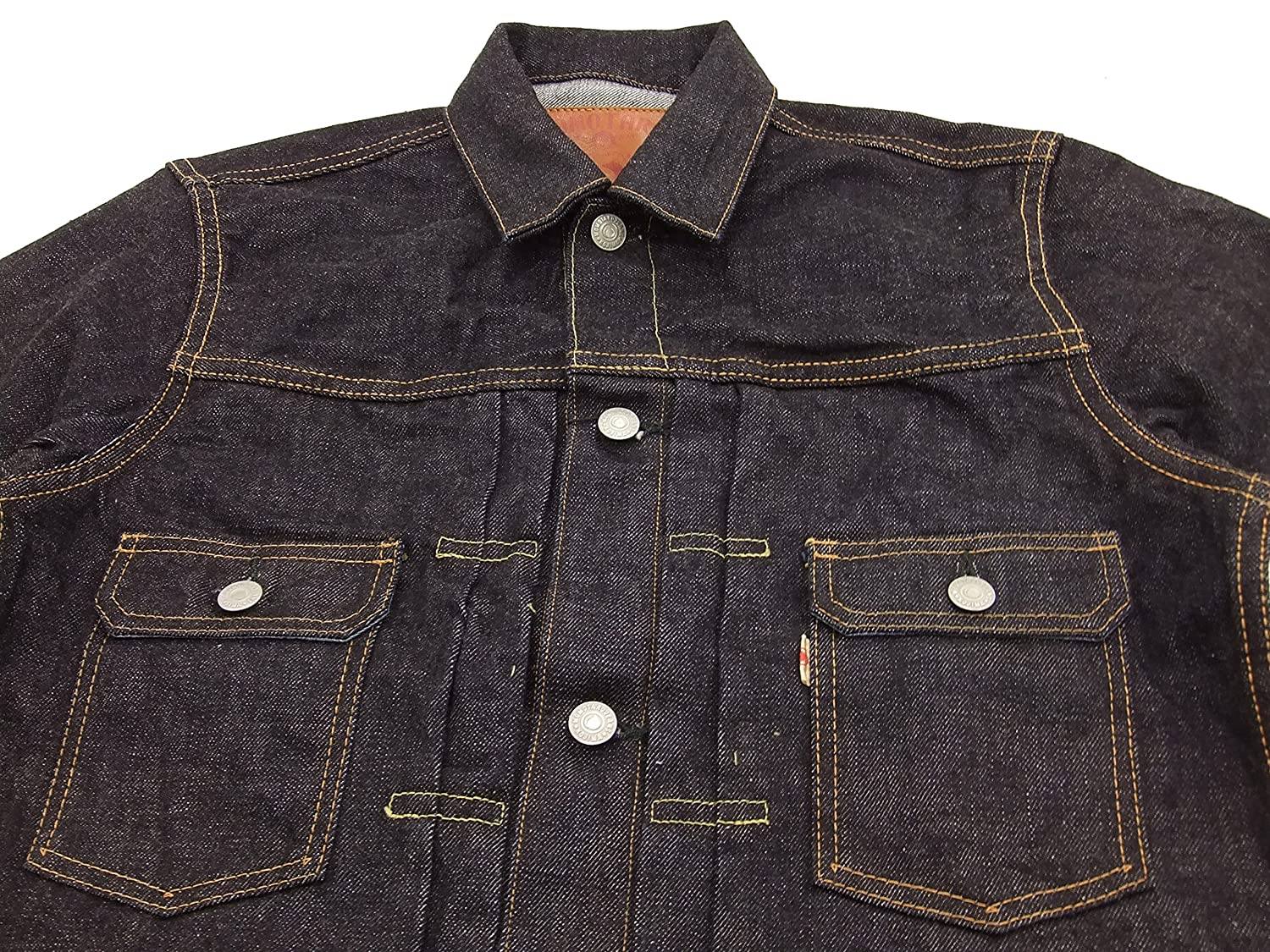 ecb032affa5 Momotaro Jeans 2105SP Men s Slim Fit Rinsed Denim Trucker Jacket With  Stripe at Amazon Men s Clothing store