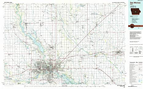 Amazon.com : YellowMaps Des Moines IA topo map, 1:100000 Scale, 30 X ...