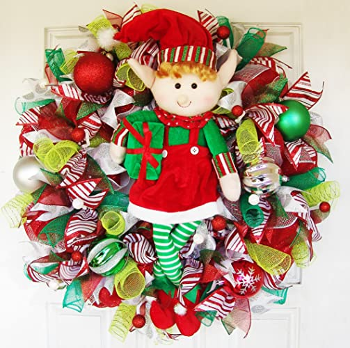 clearance xl whimsical christmas elf girl deco mesh front door wreath party decor christmas