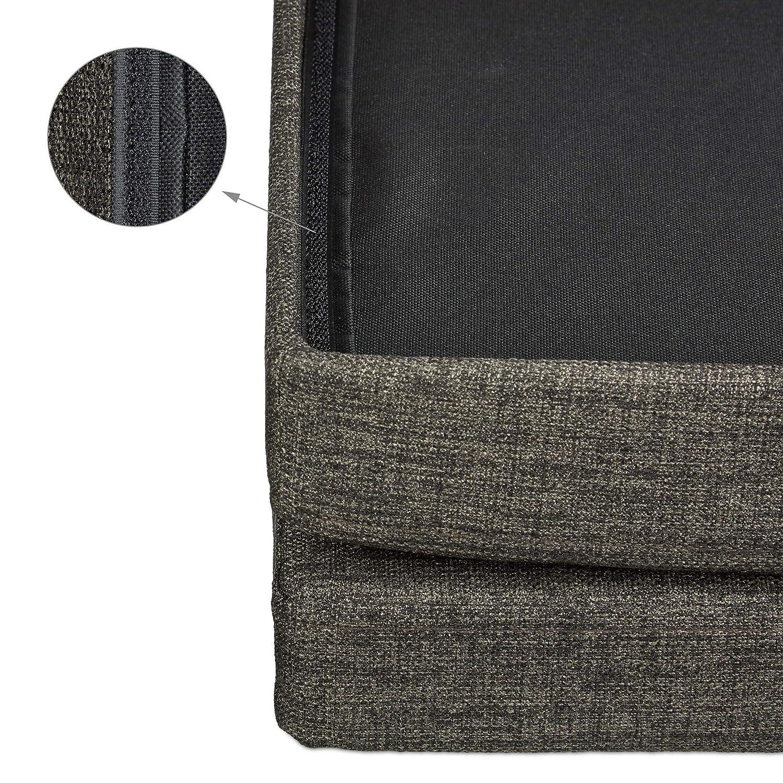 Plegable con Tapa Desmontable 38/x 38/x 73/cm Gris Relaxdays 10020372//_ 111/Puf//Caja Revestimiento de Lino