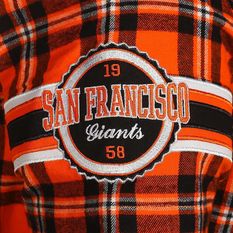 FOCO MLB Mens Color Block Short Sleeve Flannel
