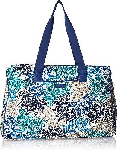 Vera Bradley Women s Signature Cotton Triple Compartment Travel Bag, Santiago With Navy