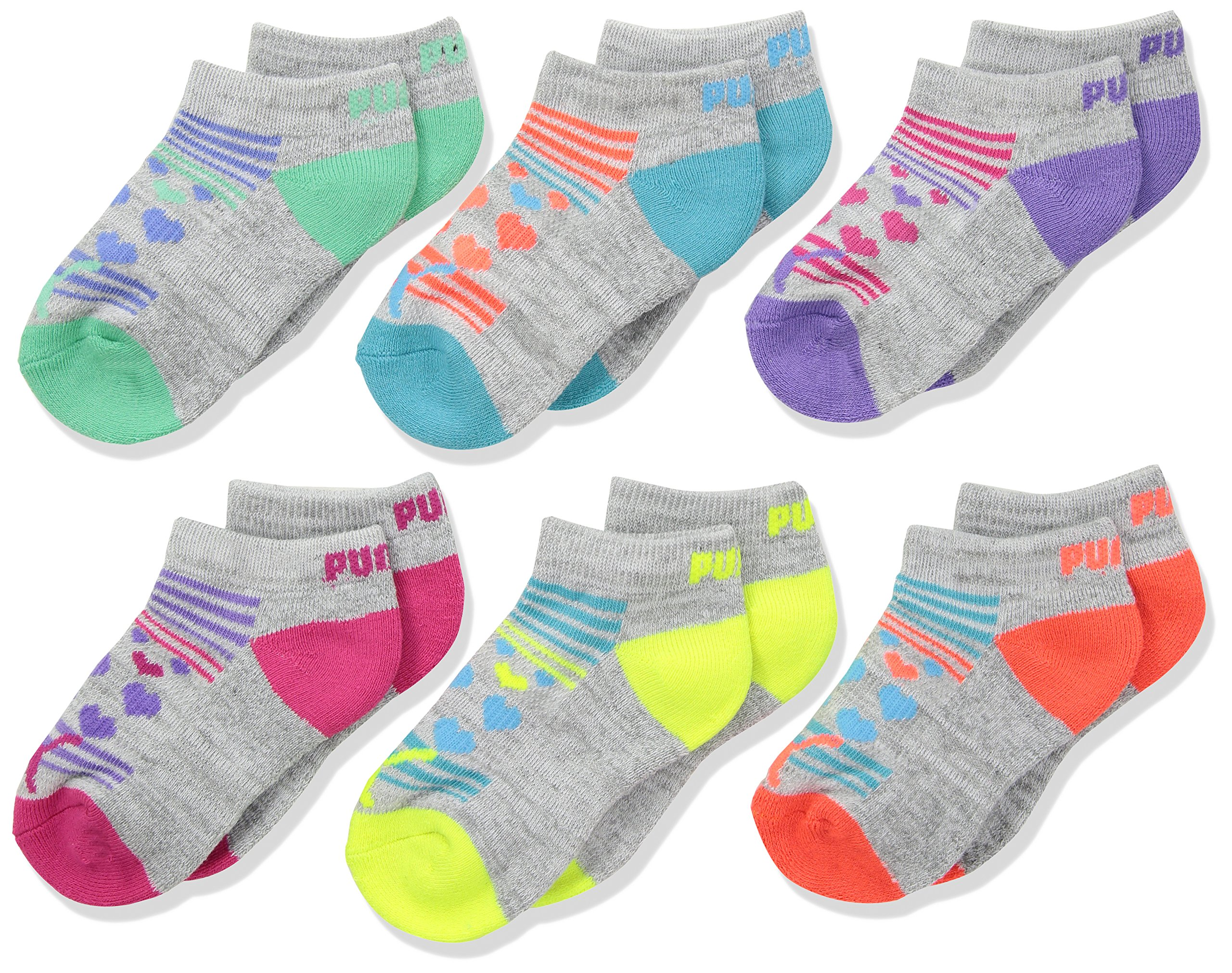 PUMA Big Girls' 6 Pack Low Cut Socks, Grey/Pink, 9-11 by PUMA