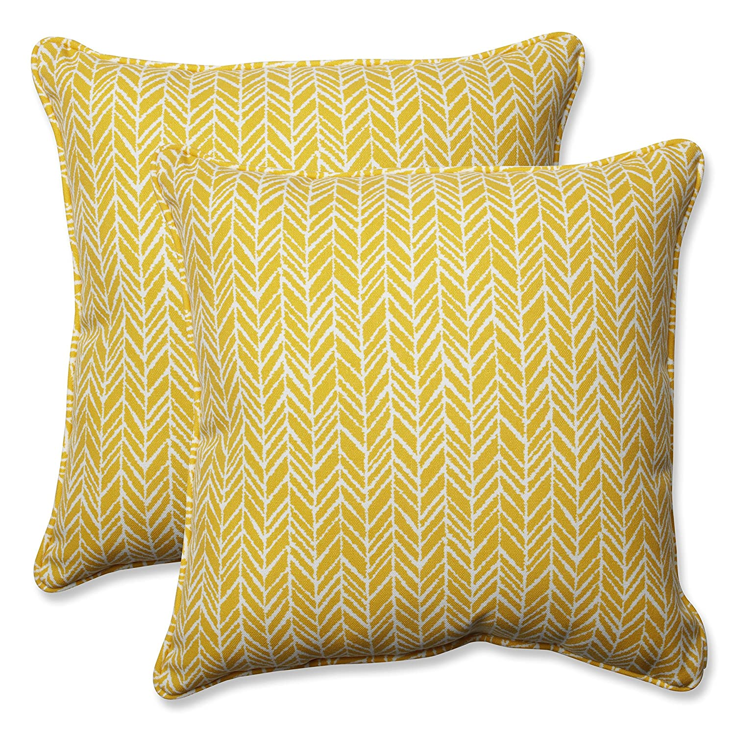 Pillow Perfect Outdoor Indoor Herringbone Egg Yolk 18.5-inch Throw Pillow Set o, 2 Piece