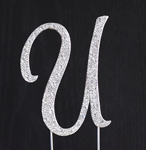 Amazon Com New Style Rhinestone Wedding Cake Topper Letter U 4x3 5