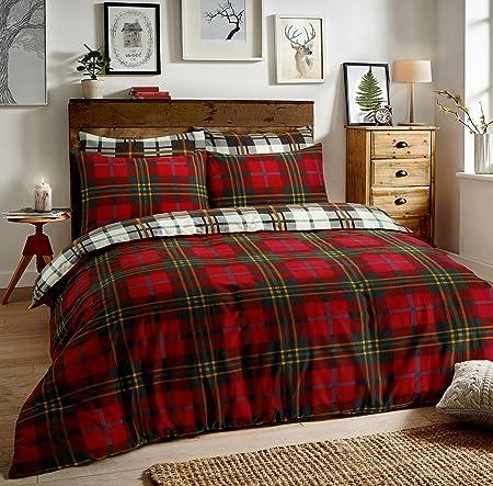 Sleep Down Tartan Check Red Reversible Quilt Duvet Cover Set