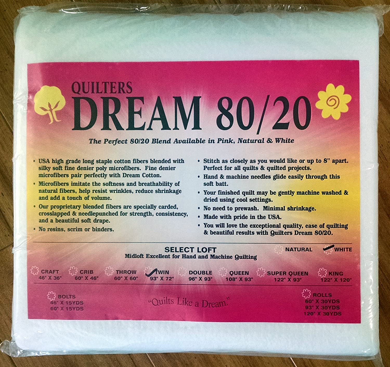 Quilter's Dream 80/20, White, Select Loft Batting - Twin Size 93X72 Quilter' s Dream 80/20 Quilter' s Dream Batting EWTN