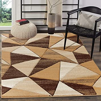 Glory Rugs Area Rug 8x10 Brown Modern Triangle Geometry Soft Hand Carved Contemporary Floor Carpet Fluffy Texture For Indoor Living Dining Room And Bedroom Area Furniture Decor