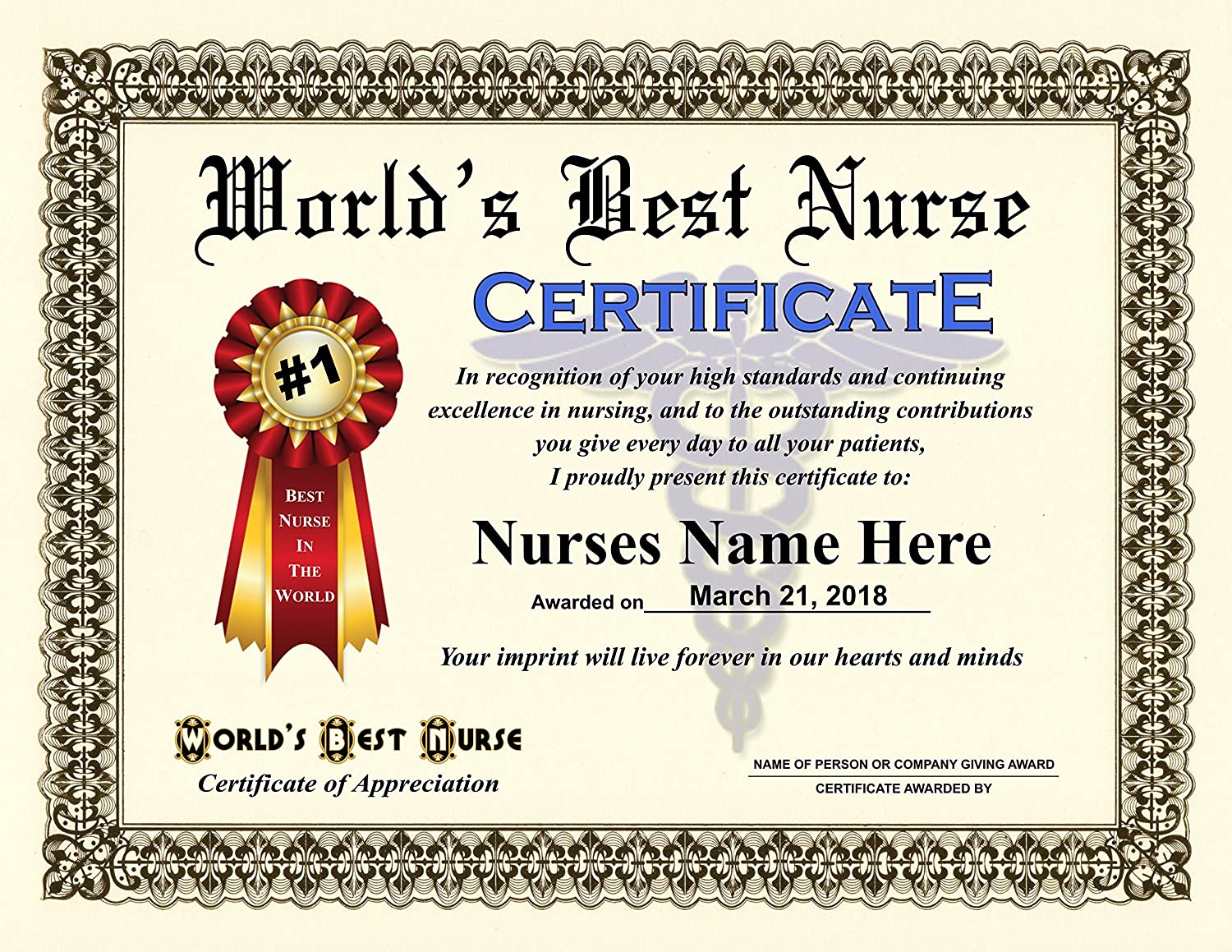 Amazon Worlds Best Nurse Certificate Award Custom Printed By