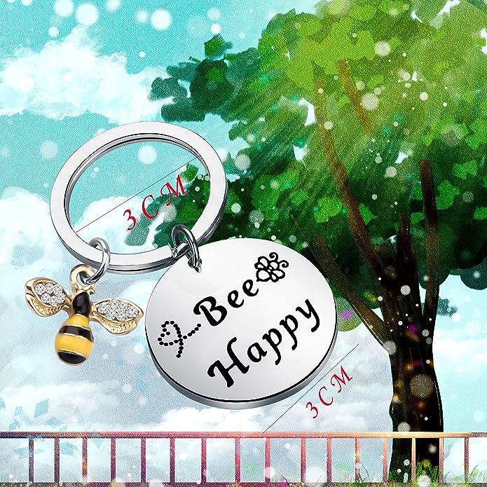 Amazon.com: bobauna Bee Happy Keychain with Bumble Bee Chram ...