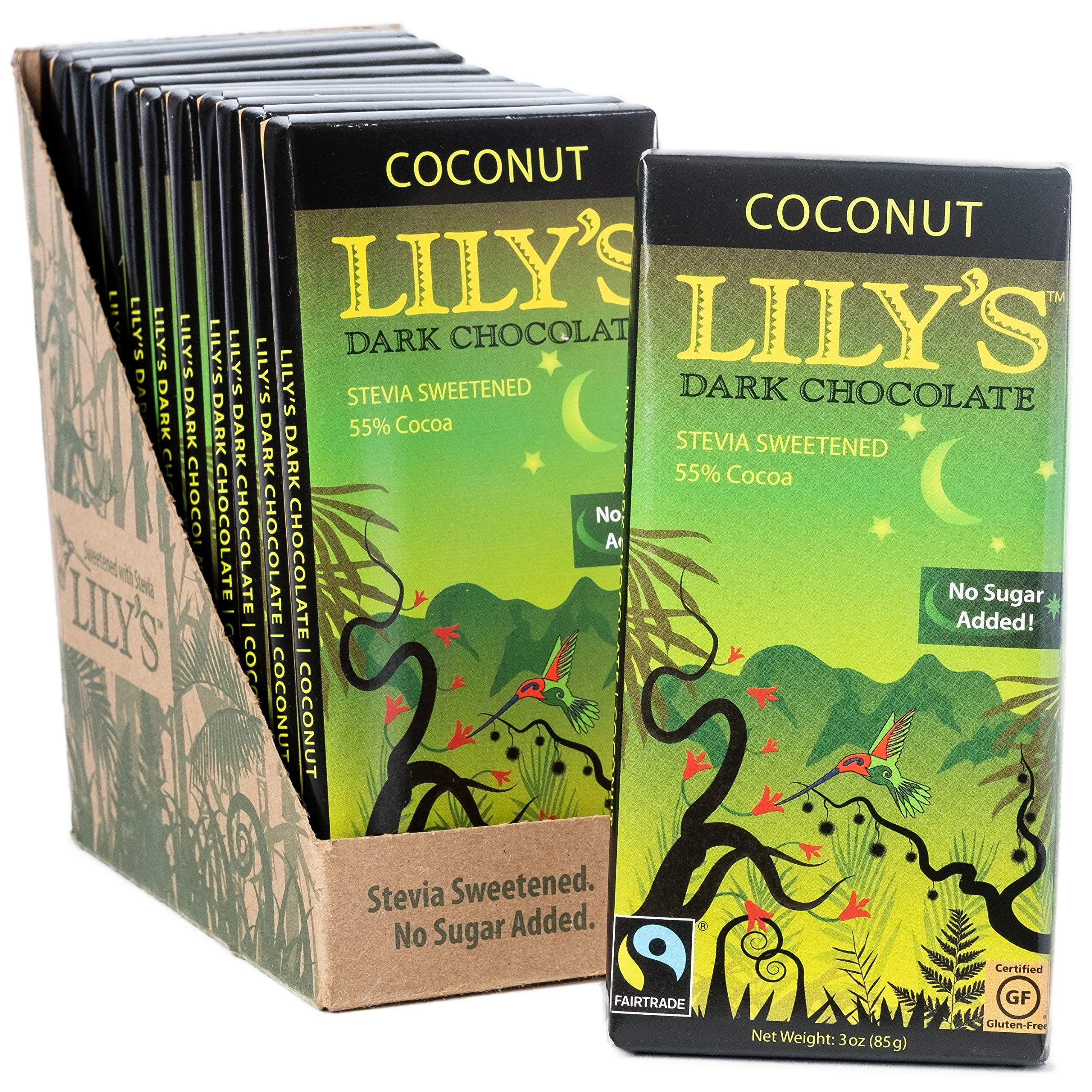 Coconut Dark Chocolate Bar by Lily's Sweets | Stevia Sweetened, No Added Sugar, Low-Carb, Keto Friendly | 55% Cacao | Fair Trade, Gluten-Free & Non-GMO | 3 ounce, 12-Pack