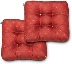 Duck Covers Water-Resistant Indoor/Outdoor Seat Cushions, 19 x 19 x 5 Inch, 2 Pack, Ruby Mosaic