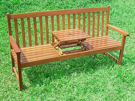 New Wooden Garden Bench Sutton 2 3 Seater Centre Table Top Hardwood Parasol Hole Amazon Co Uk Garden Outdoors