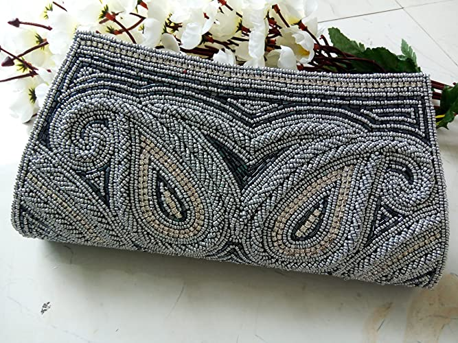 Amazon.com  Gray Beaded clutch   Bridal Grey purse   wedding bag   evening  art deco   Handmade in India   Ethnic vintage crystal handbag  Handmade fde943cc2fa02