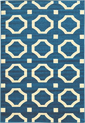 Linon Claremont Collection Octagon Off-White Synthetic Rugs, 8 x10 2 , Blue