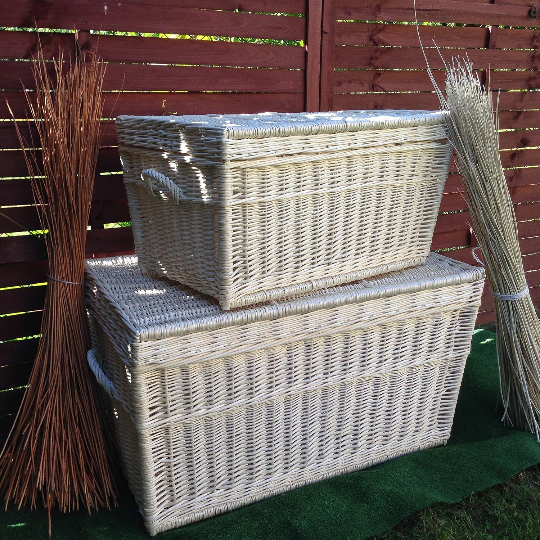 Dos Blanco cesta Baúles, mimbre de 80 cm y 60 cm, cesta, cesta de baúl, White Wicker Chest Set, Wicker Trunk: Amazon.es: Hogar