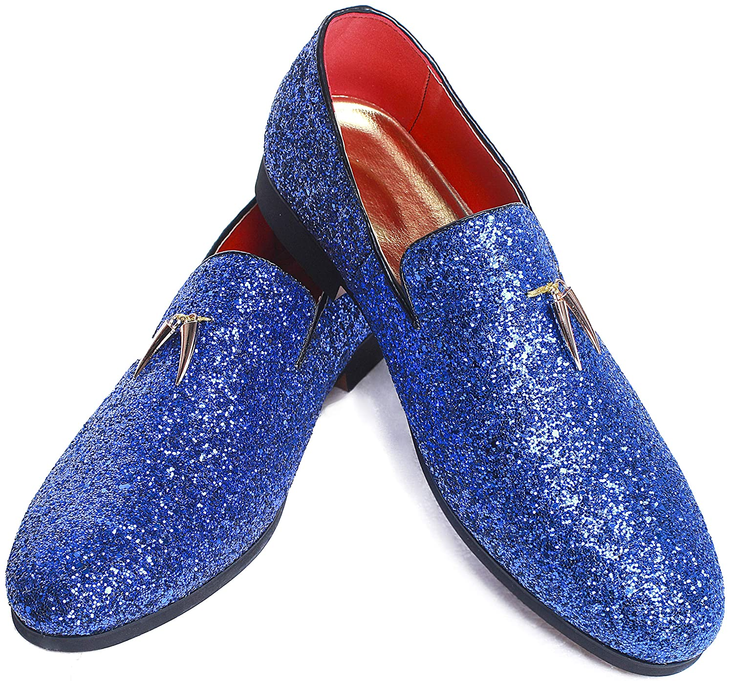 ec2546d298a Men's Modern Glitter Tuxedo Slip-on Loafers Luxury Metallic Sequins  Textured Wedding Prom Dress Shoes