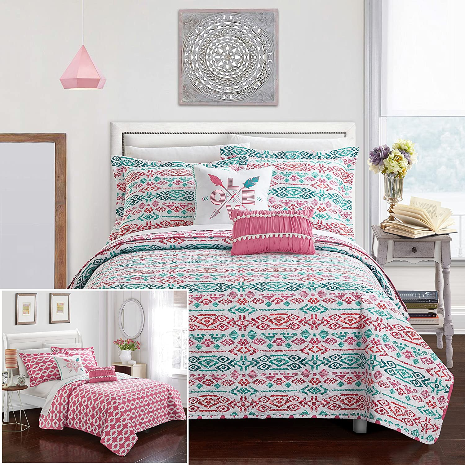 Chic Home 5 Piece Millie Reversible Ikat Bohemian Designer Printed Quilt and Shams Set, Includes Love and pom pom Pillow Full Quilt Set Aqua