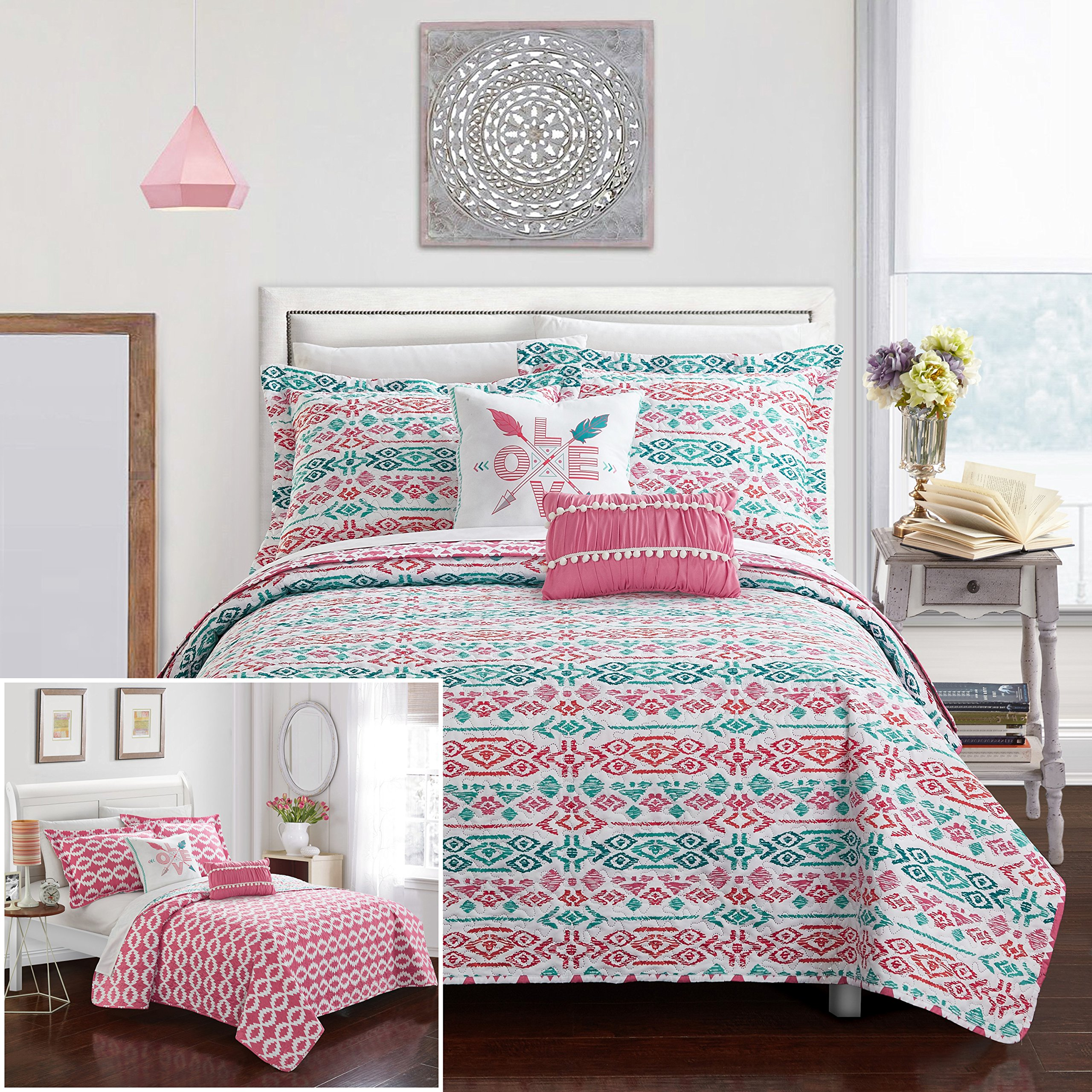 Chic Home 4 Piece Millie REVERSIBLE Ikat bohemian designer printed quilt and shams set, includes LOVE and pom pom pillow Twin Quilt Set Aqua by Chic Home (Image #1)