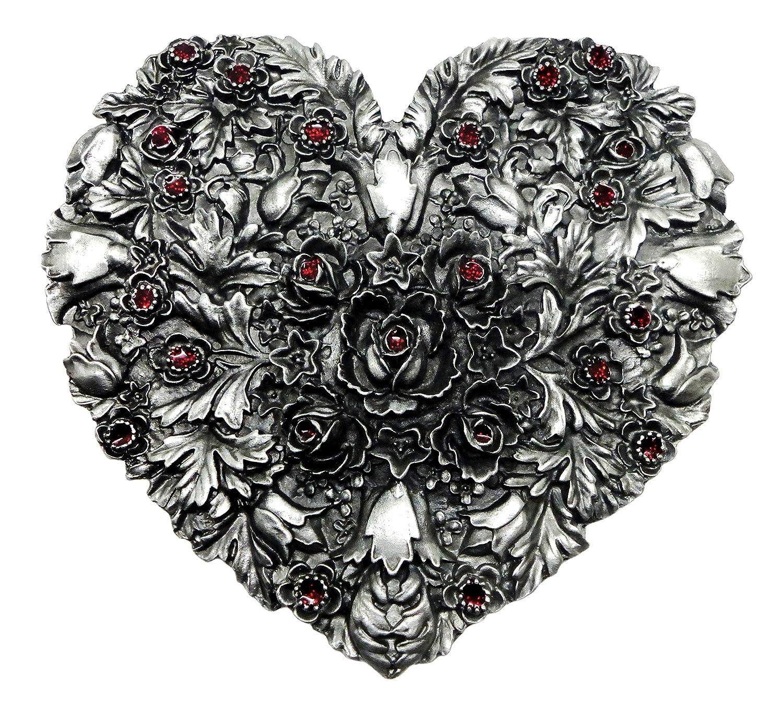 Gothic Heart Belt Buckle Roses Floral Design Authentic Bergamot Branded Product BER X 262