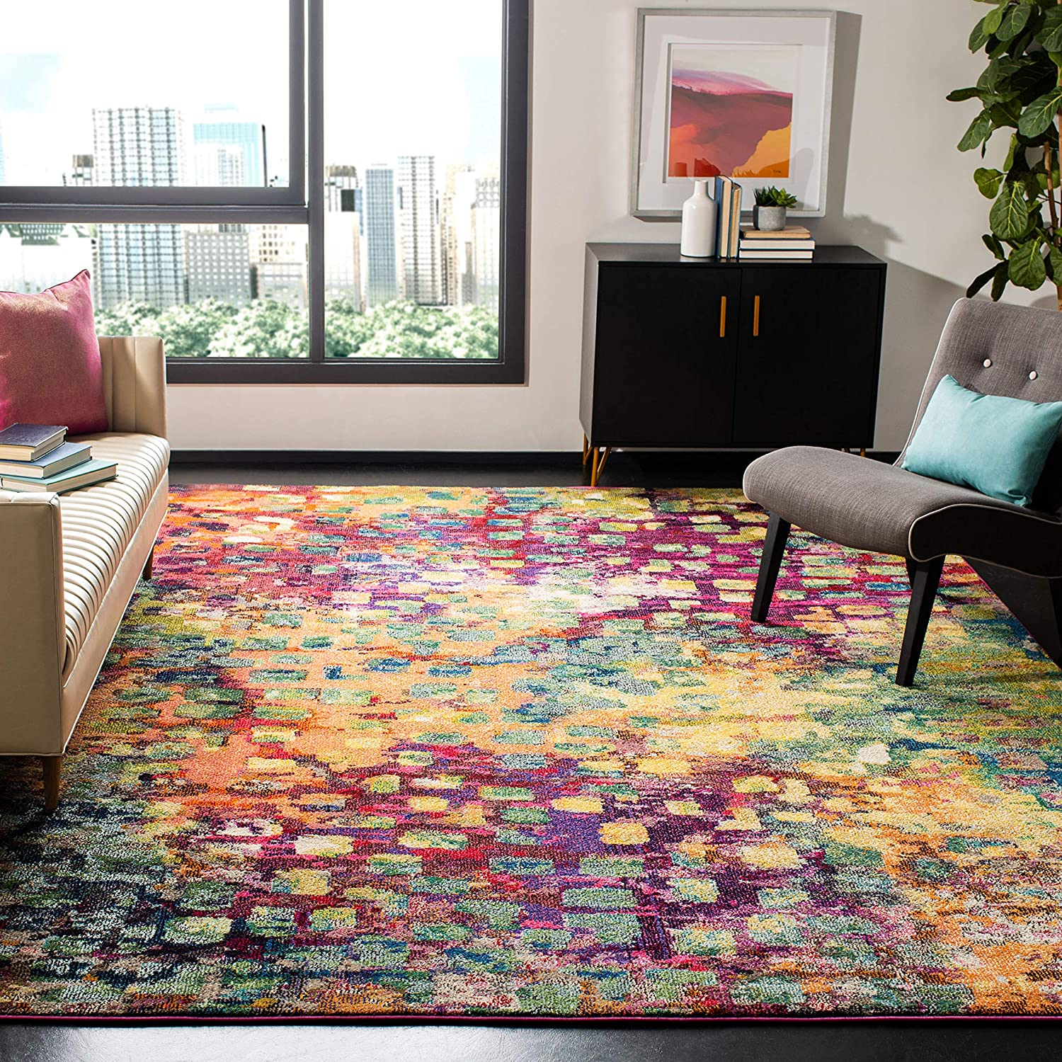 Safavieh Monaco Collection MNC225D Modern Abstract Watercolor Pink and Multi Square Area Rug 3' Square