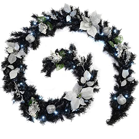 Werchristmas Pre Lit Decorated Garland 40 Ice White Led Lights Black Silver 9 Ft 2 7 M Fabric Black Silver