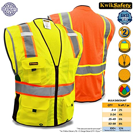 KwikSafety Class 2 Yellow Deluxe Safety Vest