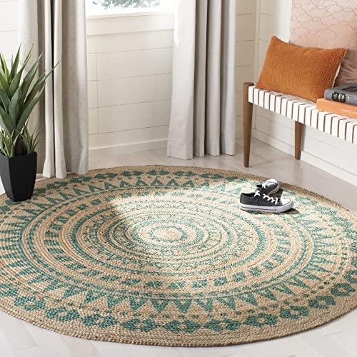Safavieh Natural-Fiber Round Collection NF802E Hand-Woven Bohemian Area Rug