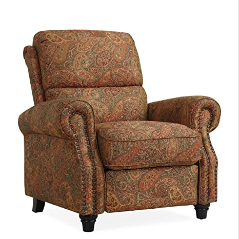 Sensational Domesis Cortez Cloth Push Back Recliner Chair Paisley Onthecornerstone Fun Painted Chair Ideas Images Onthecornerstoneorg