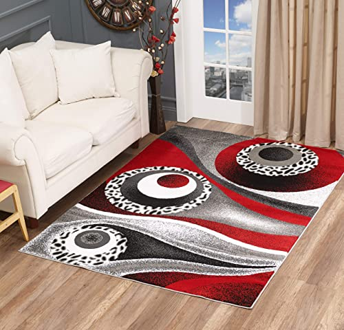 Glory Rugs Area Rug Circles Cheetah Distract Abstract Carpet Bedroom Living Room Contemporary Dining Accent Sevilla Collection 6959 8×10
