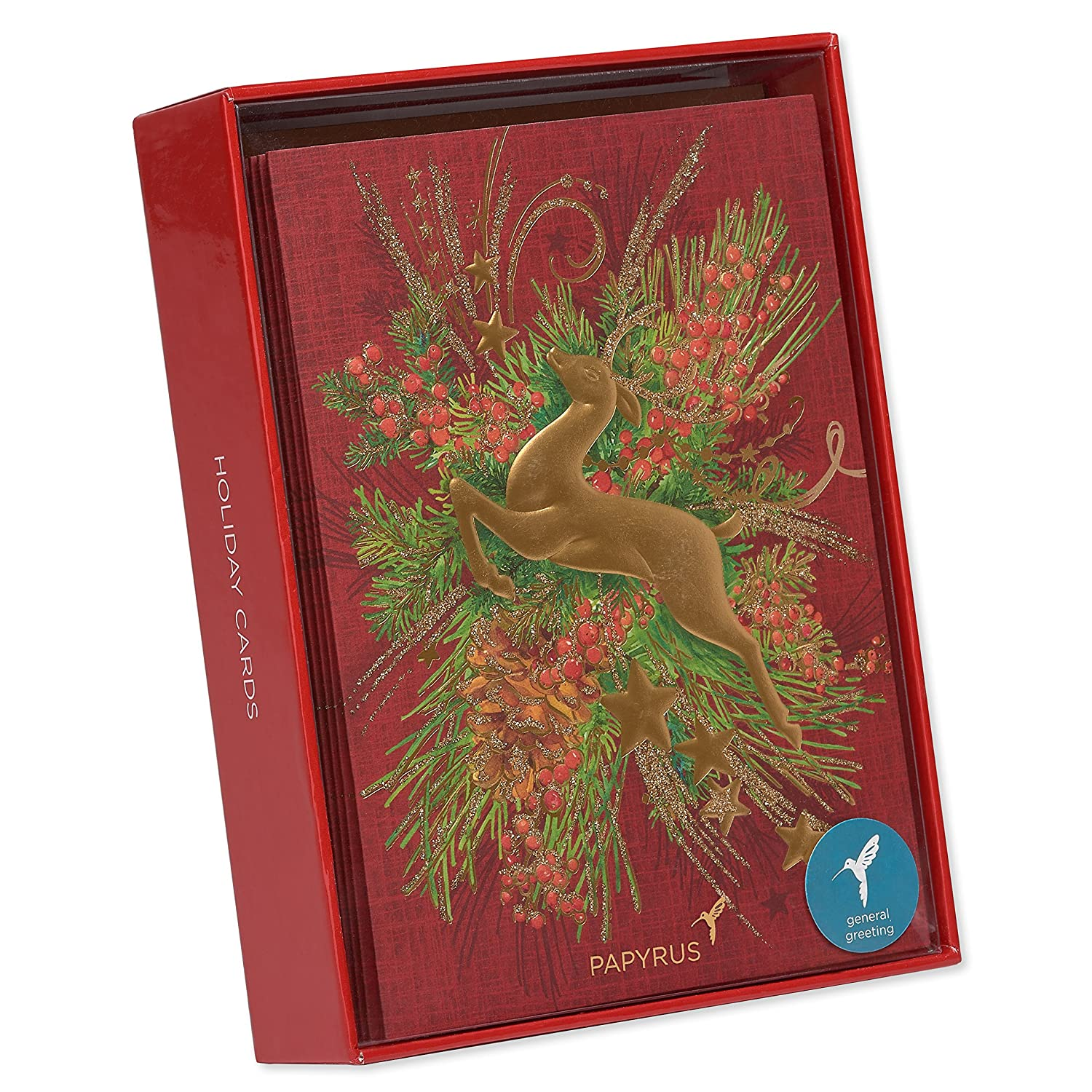 Amazon.com: Papyrus Reindeer Holiday Cards Boxed with Lined Gold ...