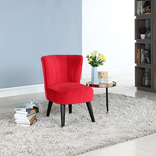 Editors' Choice: Classic and Traditional Living Room Velvet Fabric Accent Chair Red