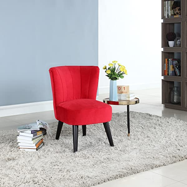 Divano Roma Furniture Classic and Traditional Living Room Velvet Fabric Accent Chair (Red)