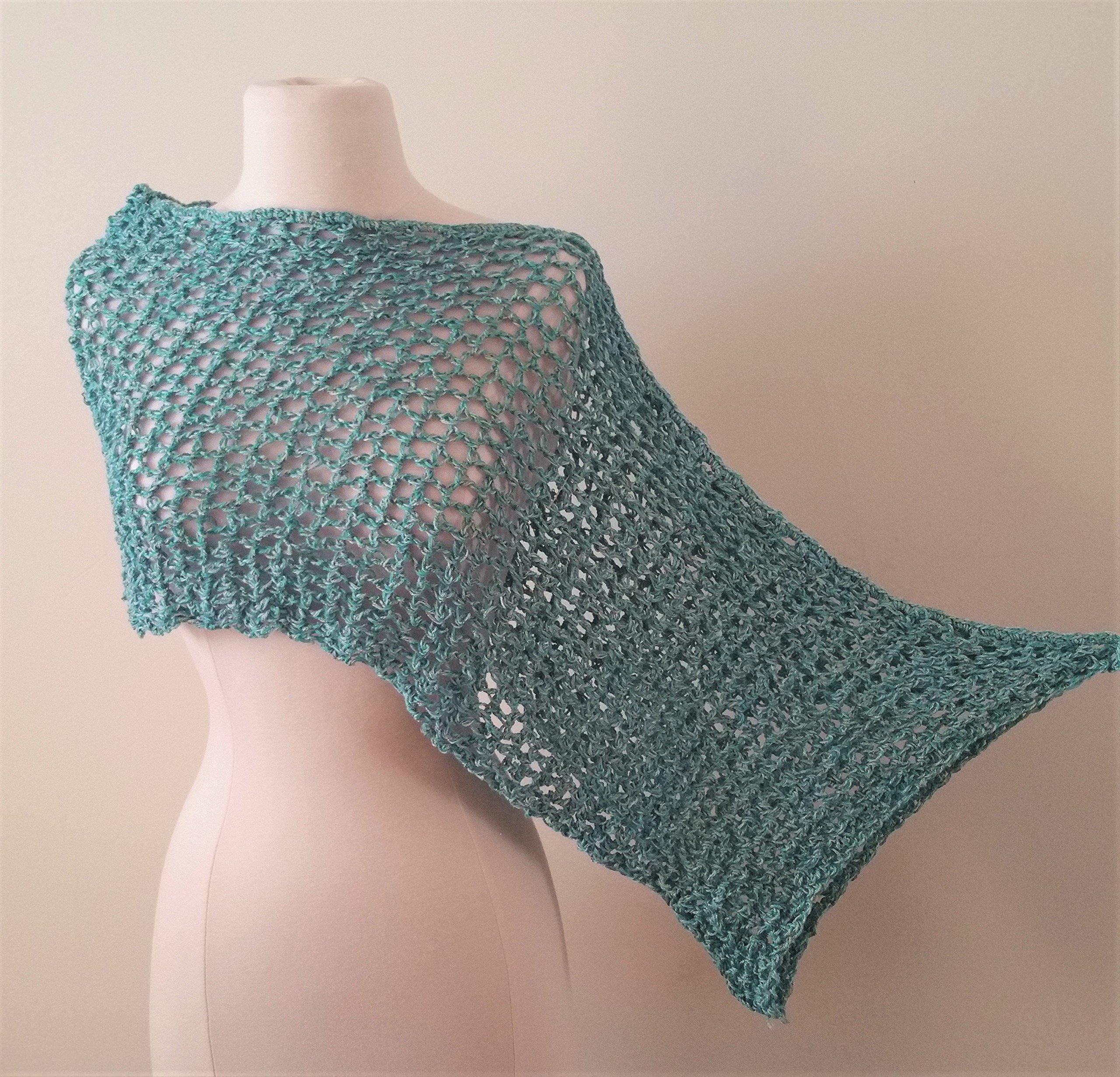 Crochet Asymmetrical Poncho - light turquoise