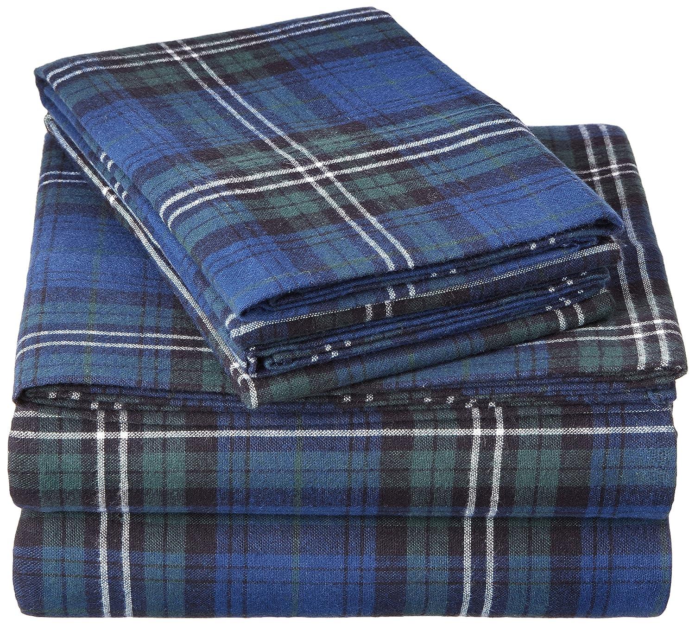 Pinzon 160 Gram Plaid Flannel Sheet Set - Queen, Blackwatch Plaid