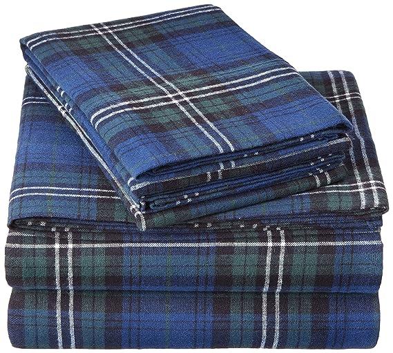 Pinzon Plaid Flannel Bed Sheet Set - Queen, Blackwatch Plaid best queen-sized flannel sheets