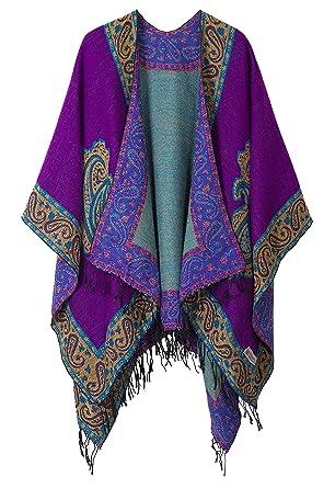 fefd930fe Women's Fashionable Retro Style Vintage Pattern Tassel Poncho Shawl Cape  (series 2 Purple)