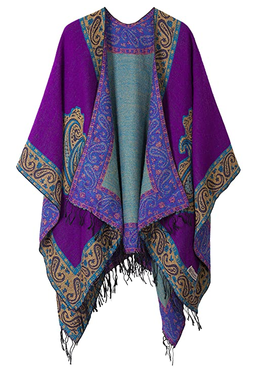 Women's Fashionable Retro Style Vintage Pattern Tassel Poncho Shawl Cape (series 2 Purple) best gifts for grandmas