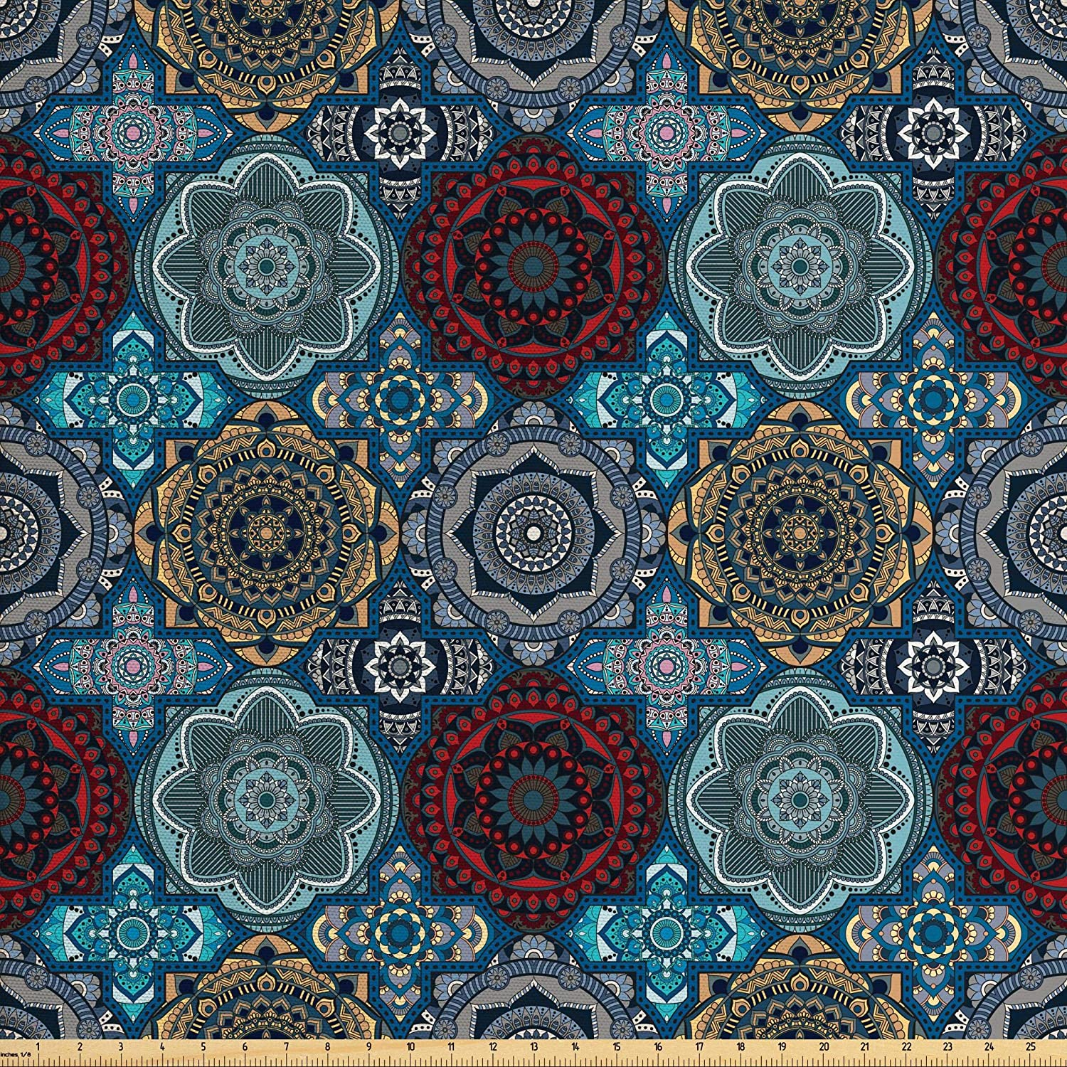 Ambesonne Moroccan Fabric by The Yard, Patchwork Style Vintage Ottoman Inspiration Retro Motifs, Decorative Fabric for Upholstery and Home Accents, 1 Yard, Brown Blue