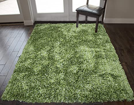 Light Green Dark Green Two Tone Colors 5 X7 Feet Shag Shaggy Solid Area Rug Carpet Rug Modern Contemporary Decorative Designer Bedroom Living Room Plush Pile Polyester Made Hand Woven Canvas Backing Kitchen