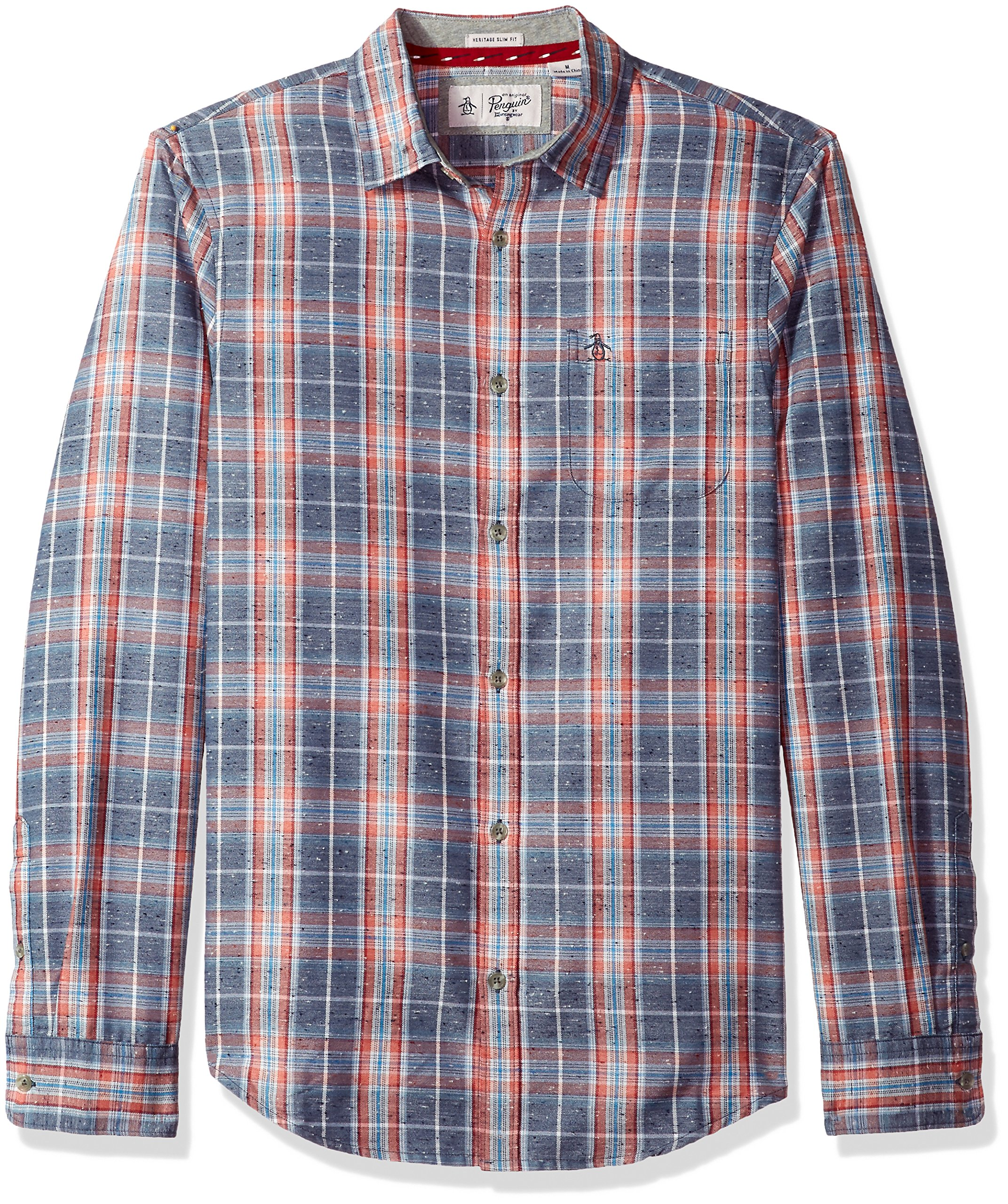 Original Penguin Men's Brushed Flannel Plaid Shirt, Vintage Indigo, Medium by Original Penguin