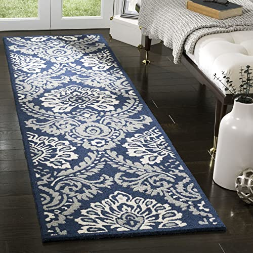 Safavieh Blossom Collection BLM106B Floral Vines Navy and Ivory Premium Wool Runner 2 3 x 8