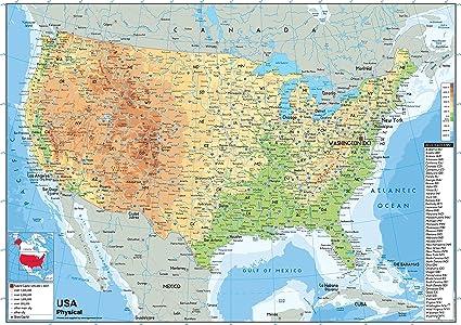 Cartina Fisico Politica Usa.Usa Mappa Fisica Carta Plastificata A1 Misura 59 4 X 84 1 Cm Amazon It Cancelleria E Prodotti Per Ufficio