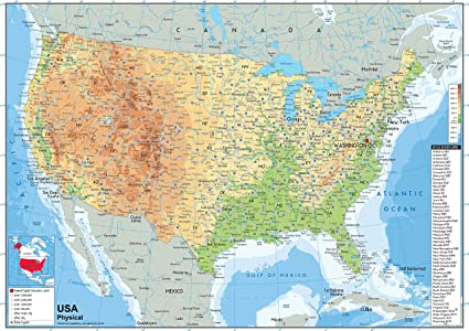 USA Physical Map - Paper Laminated (A2 Size 42 x 59.4 cm ...