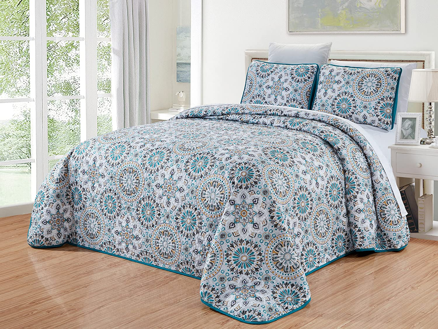 Aqua Blue, Grey, White Hibiscus Floral Quilt Set Reversible Bedspread Coverlet Twin//Twin XL Size Bed Cover 2-Piece Fine Printed Oversize 66 X 95