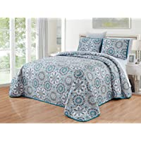 GrandLinen 3-Piece Fine Printed Quilt Set Reversible Bedspread Coverlet Full/Queen, King and Cal King Size Bed Covers