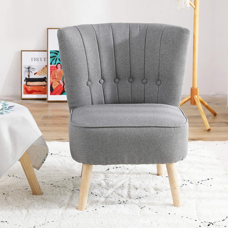 Chester Fauteuil d'appoint en tissu gris foncé pour salon ou chambre