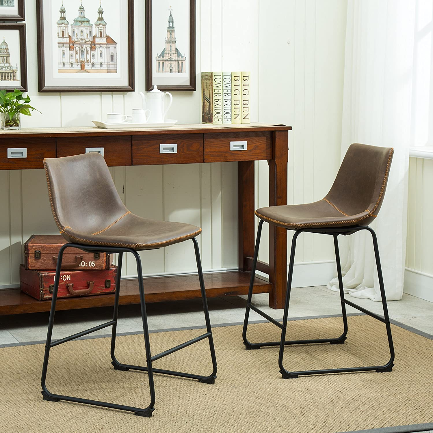Amazon.com: Roundhill Furniture Lotusville Vintage PU Leather Counter  Height Stools, Antique Brown, Set of 2: Kitchen & Dining - Amazon.com: Roundhill Furniture Lotusville Vintage PU Leather