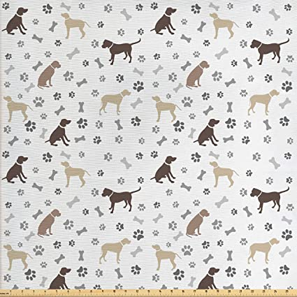 Amazon Com Ambesonne Dog Lover Fabric By The Yard Paw Print Bones